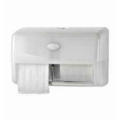 Pearl White, duo toiletrolhouder voor 2 rollen traditioneel