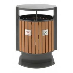 Buitenafvalbak afvalscheiding houtlook, 2 x 39 ltr