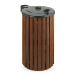 Grijs/Hout Buitenafvalbak + deksel, 110 liter
