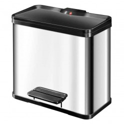 Pedaalemmer, RVS met zwarte deksel, 3x9 liter