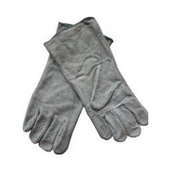 ***Rundsplitlederen lashandschoenen 35 cm. per paar.