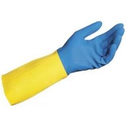 Latex Neopreen, Blauw/Geel, 10 paar, maat 10