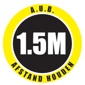 a.u.b. 1,5 M afstand houden, vloersticker. diameter 30 cm