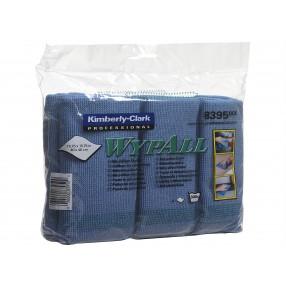 Microfibre doeken, 40 x 40 cm, 4 x 6 stuks blauw, gevouwen.