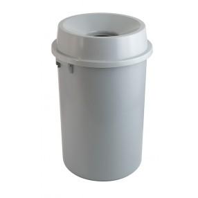 Grijs kunststof , 60 liter, open top.