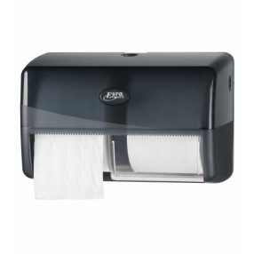 Pearl Black, duo toiletrolhouder voor 2 rollen traditioneel