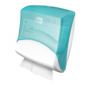 W4 Wiper/Cloth folded dispenser, Wit/turqoise