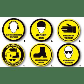 Veiligheidssymbool voor vloeren. Rond, geel, 30,5cm