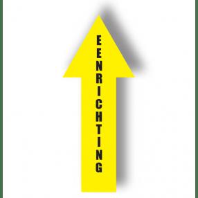 Eenrichtingspijl, geel, vloersticker. 10 x 30,5 cm