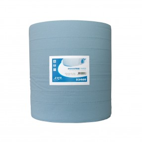 Euro blauw recycled, verlijmd, 37 cm x 400 mtr, 1 rol, 3lgs