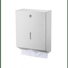 Vouwhanddoekdispenser wit RVS, groot. Voor C- en Z-vouw.