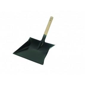 Stofblik metaal zwart houten steel, 23x22 cm